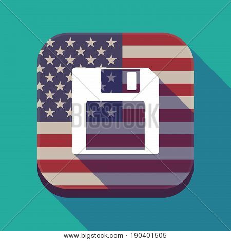 Long Shadow Usa App Button With A Floppy Disk