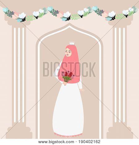 woman girl muslim bride holding flower wearing veil islam tradition vector