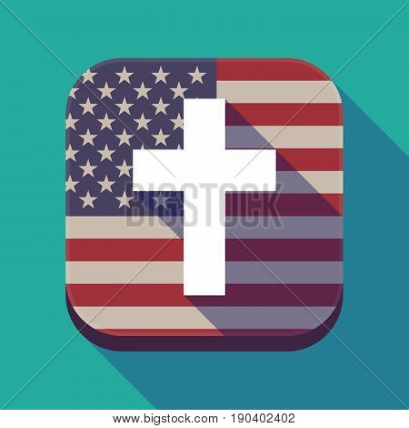 Long Shadow Usa App Button With A Christian Cross
