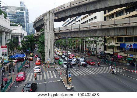 Traffic Jam With Cars On Sukhumvit In Bangkok