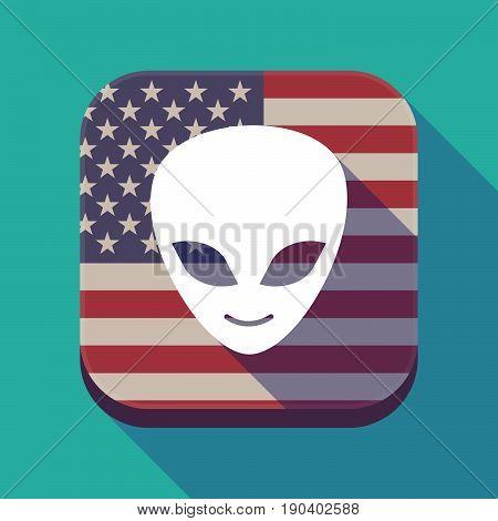 Long Shadow Usa App Button With An Alien Face