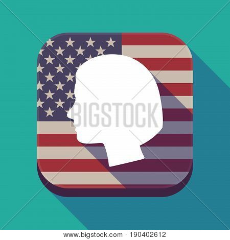 Long Shadow Usa App Button With A Female Head