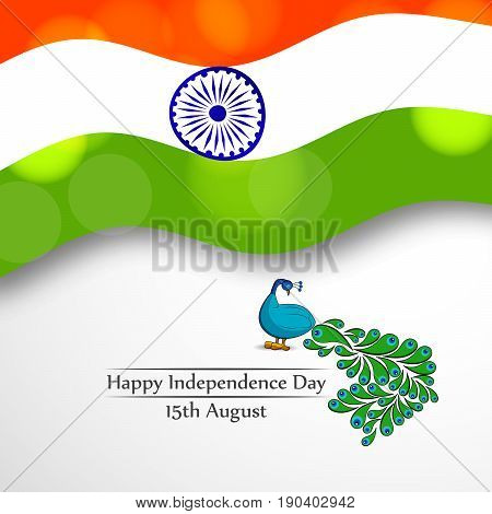 illustration of Peacock on India flag background with happy independence day 15th August text