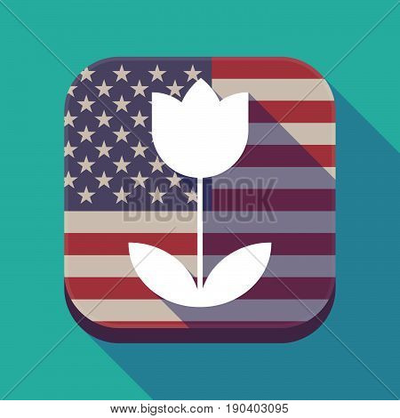 Long Shadow Usa App Button With A Tulip