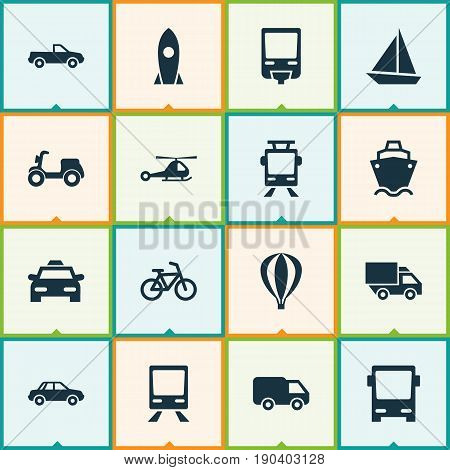 Transportation Icons Set. Collection Of Bicycle, Yacht, Cabriolet And Other Elements. Also Includes Symbols Such As Van, Omnibus, Car.