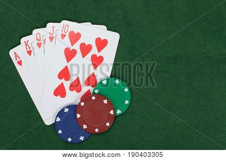 Poker And Gambling Winning Hand With Chips