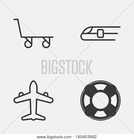 Transportation Icons Set. Collection Of Lifebuoy, Metro, Jet And Other Elements. Also Includes Symbols Such As Trolley, Sea, Metro.