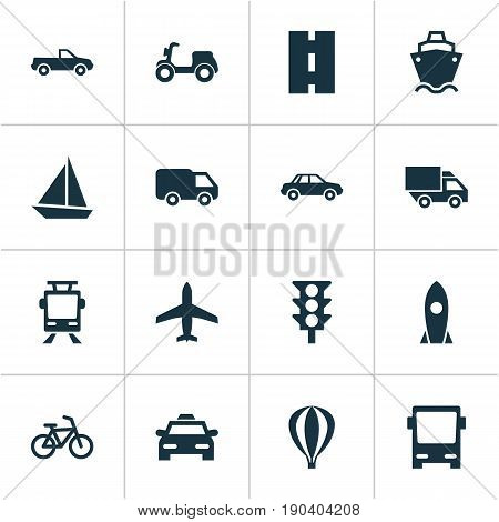 Shipment Icons Set. Collection Of Bicycle, Omnibus, Automobile And Other Elements. Also Includes Symbols Such As Moped, Stoplight, Traffic.