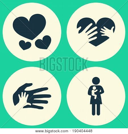 Mother's Day Icons Set. Collection Of Helping, Newborn Baby, Heart And Other Elements. Also Includes Symbols Such As Heart, Baby, Mother.