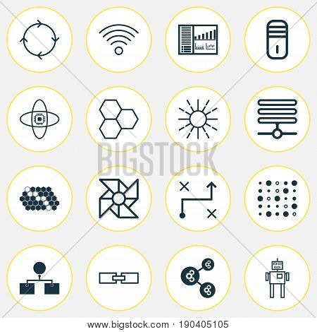 Learning Icons Set. Collection Of Algorithm Illustration, Analysis Diagram, Related Information And Other Elements. Also Includes Symbols Such As Microprocessor, Analysis, Shared.