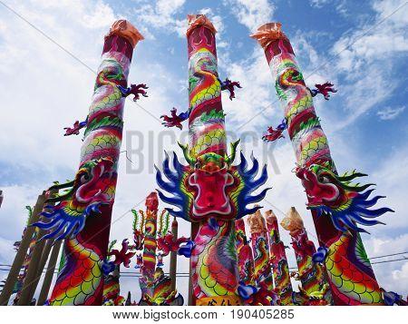 dragon sculpture joss sticks at outdoor