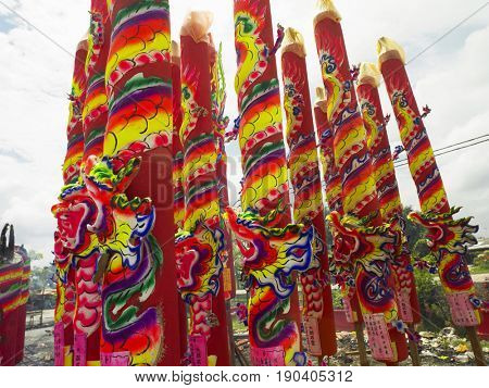 giant joss sticks placed at outdoor