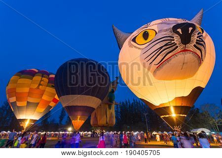 Chiang Mai Thailand - 4 March 2016 - Hot-aired ballons float on display at Chiang Mai Ballon Festival in Chiang Mai Thailand on March 4th 2016