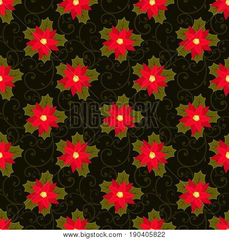 Festive background.Seamless pattern. Red flower. Poinsettia. Christmas and New year.Texture for webprintWallpaperdecorationwinterfashionwebsite backgroundgift wrapping Vector stock