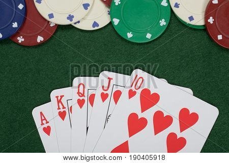 Winning Poker Hand And Casino Chips