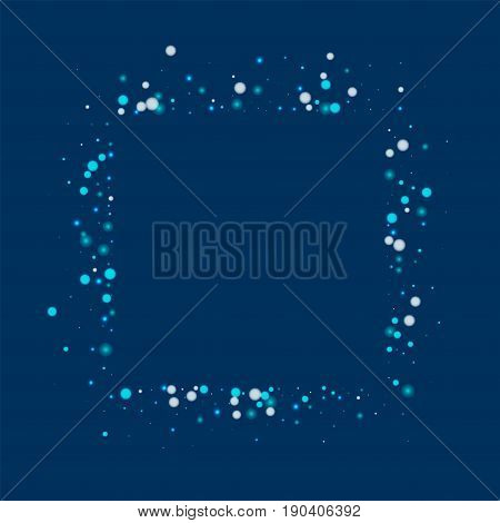 Beautiful Falling Snow. Square Abstract Mess With Beautiful Falling Snow On Deep Blue Background. Ve