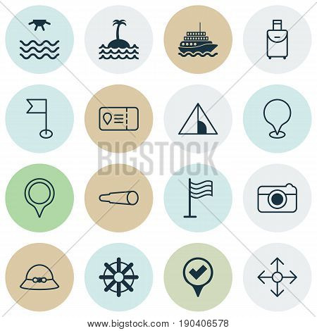 Travel Icons Set. Collection Of Camping House, Sunrise, Marker And Other Elements. Also Includes Symbols Such As Check, Cap, Point.
