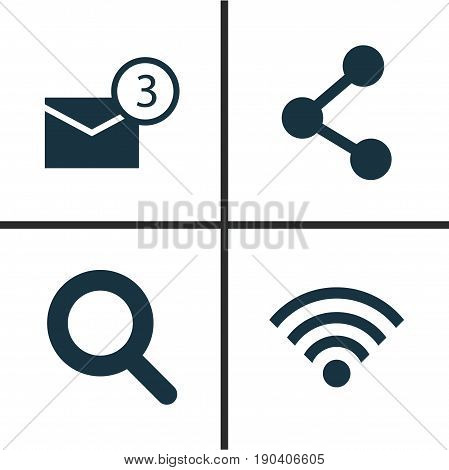 Internet Icons Set. Collection Of Magnifier, Inbox, Publish And Other Elements. Also Includes Symbols Such As Publish, Share, Network.