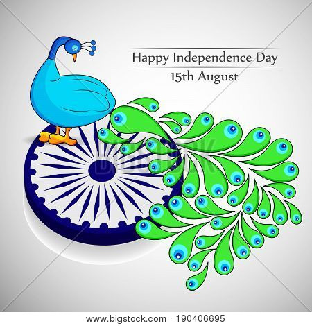 illustration of Peacock India national bird with happy Independence Day 15th August text on occasion of India independence day