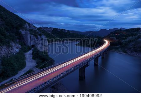 Magnificent landscape, nightscape  with light trails and the rock phenomenon The Wonderful Rocks (Balkan mountain, Bulgaria)