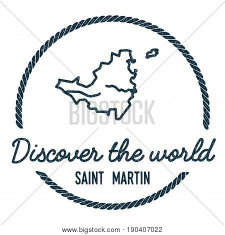 Saint Martin Map Outline. Vintage Discover The World Rubber Stamp With Island Map. Hipster Style Nau