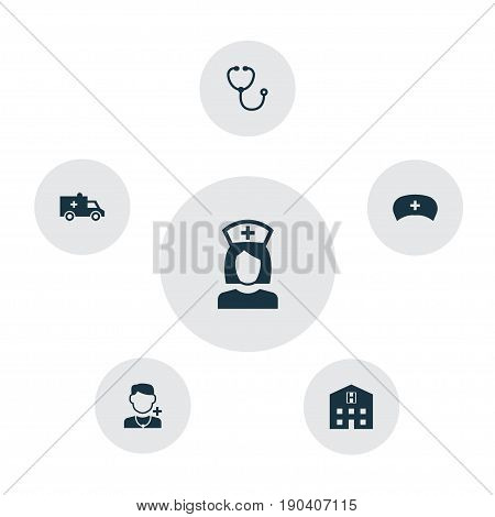 Drug Icons Set. Collection Of Bus, Physician, Device And Other Elements. Also Includes Symbols Such As Retreat, Nurse, Cap.