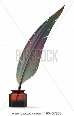 feather and inkwell old retro vintage icon stock vector illustration isolated on white background