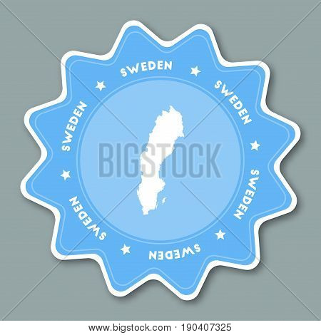 Sweden Map Sticker In Trendy Colors. Star Shaped Travel Sticker With Country Name And Map. Can Be Us