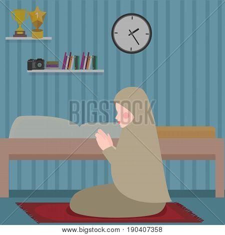 woman islam pray in tahajud shalat at night in her room vector