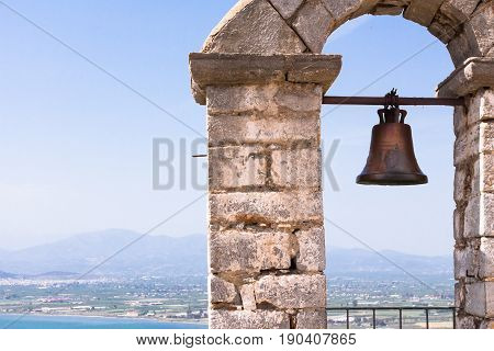 Closeup Of Bell On Palamidi Medieval Fortress, Nafplio, Greece