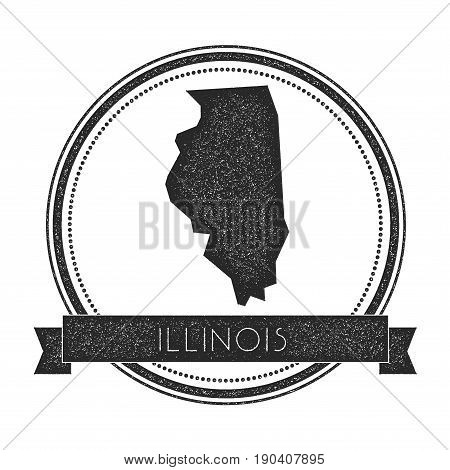 Illinois Vector Map Stamp. Retro Distressed Insignia With Us State Map. Hipster Round Rubber Stamp W