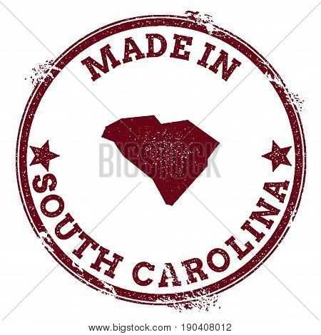 South Carolina Vector Seal. Vintage Usa State Map Stamp. Grunge Rubber Stamp With Made In South Caro