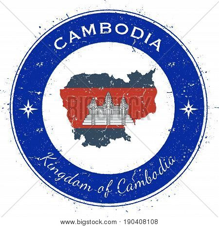 Cambodia Circular Patriotic Badge. Grunge Rubber Stamp With National Flag, Map And The Cambodia Writ