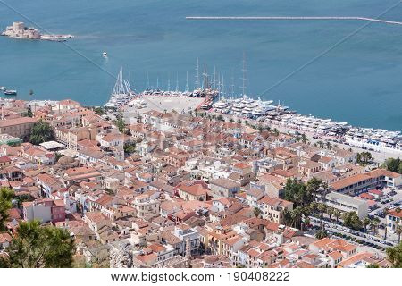 Panoramic View Of Nafplio Town Seen From Palamidi Castle, Greece