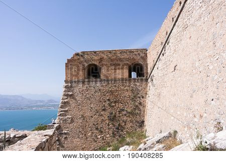 Part of Palamidi medieval fortress Nafplio Greece