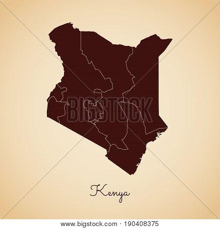 Kenya Region Map: Retro Style Brown Outline On Old Paper Background. Detailed Map Of Kenya Regions.