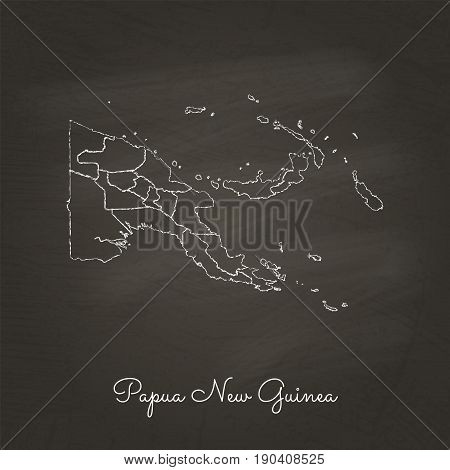 Papua New Guinea Region Map: Hand Drawn With White Chalk On School Blackboard Texture. Detailed Map