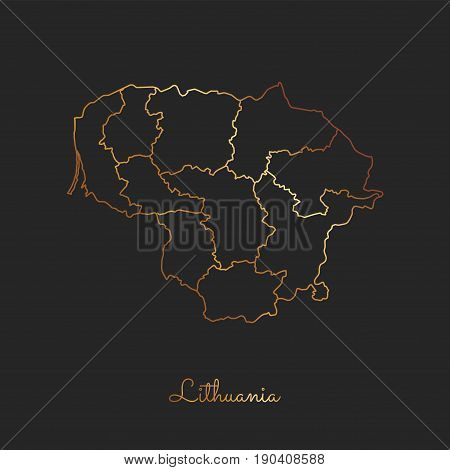 Lithuania Region Map: Golden Gradient Outline On Dark Background. Detailed Map Of Lithuania Regions.