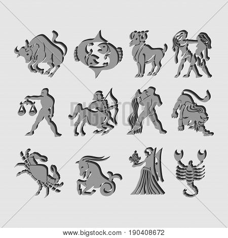 Vector. Set of icons of zodiac astrological signs image of horoscope