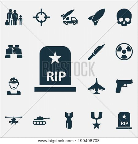 Warfare Icons Set. Collection Of Aircraft, Panzer, Chopper And Other Elements. Also Includes Symbols Such As Skull, Cranium, Bomber.