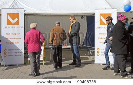 People At The Agitation Tent In Jyvyskala, Finland
