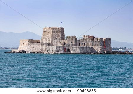 Bourtzi water fortress of Nafplio Greece .