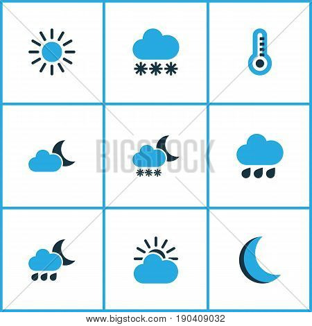 Air Colorful Icons Set. Collection Of Thermometer, Blizzard, Overcast And Other Elements. Also Includes Symbols Such As Moon, Sunny, Storm.
