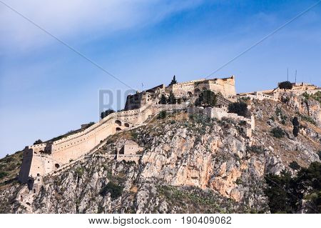 Palamidi old medieval fortress Nafplio Greece .