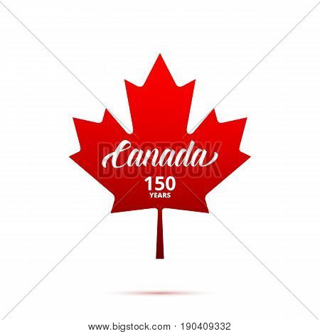 Canada 150th anniversary logo. Maple Leaf with typography. Canada 150 Years anniversary.