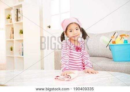 Cute Little Girl Help Make Cleaning