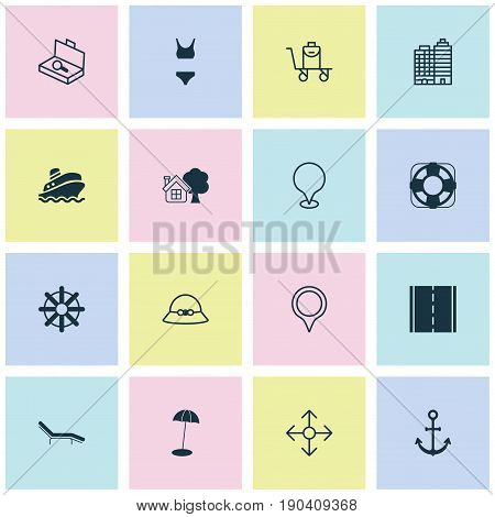 Tourism Icons Set. Collection Of Bathing Costume, Hotel, Suitcase Checking And Other Elements. Also Includes Symbols Such As Hook, Luggage, Search.