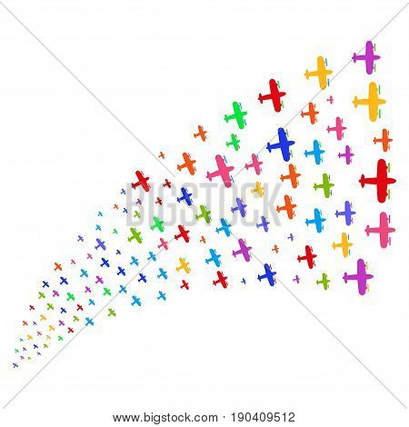 Fountain of aircraft icons. Vector illustration style is flat bright multicolored iconic aircraft symbols on a white background. Object fountain created from design elements.