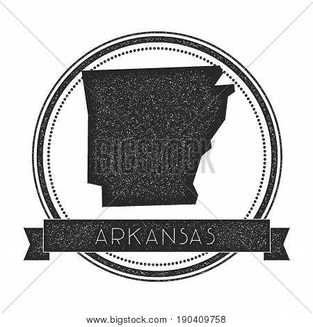 Arkansas Vector Map Stamp. Retro Distressed Insignia With Us State Map. Hipster Round Rubber Stamp W