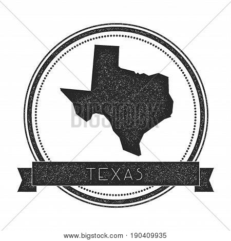 Texas Vector Map Stamp. Retro Distressed Insignia With Us State Map. Hipster Round Rubber Stamp With